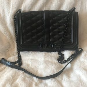 REBECCA MINKOFF Love Crossbody Purse Quilted Black